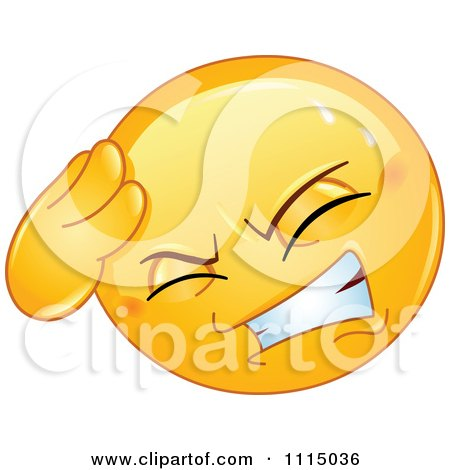 Clipart Smiley Face With A Headache - Royalty Free Vector Illustration by yayayoyo