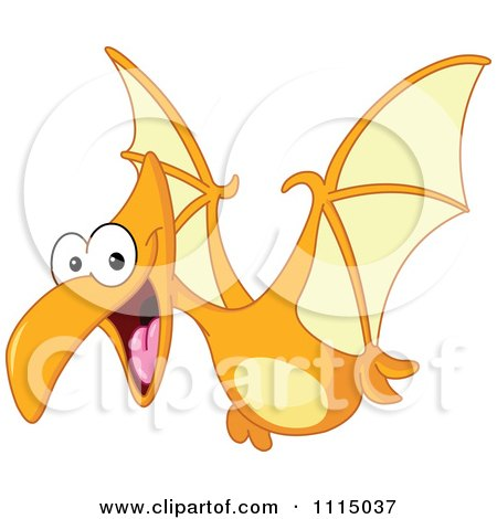 Clipart Cute Pterodactyl Flying - Royalty Free Vector Illustration by yayayoyo