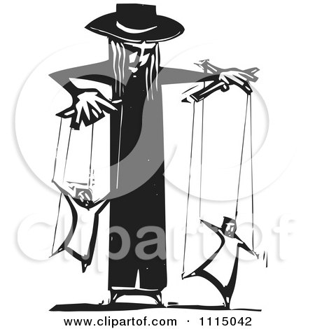 Clipart Priest Controlling People On Puppet Strings Black And White Woodcut - Royalty Free Vector Illustration by xunantunich