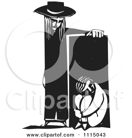 Clipart Person Leaning On A Sad Person In A Box Black And White Woodcut - Royalty Free Vector Illustration by xunantunich