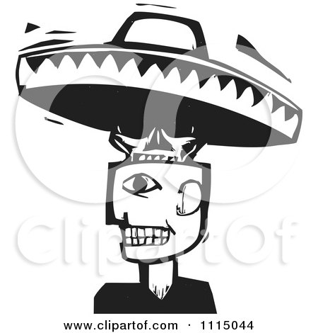 Clipart Man With A Skull And Sombrero Head Black And White Woodcut - Royalty Free Vector Illustration by xunantunich