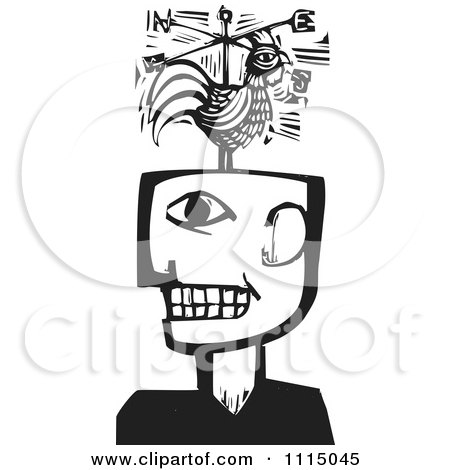Clipart Man With A Rooster Weathervane Black And White Woodcut - Royalty Free Vector Illustration by xunantunich