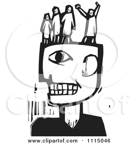 Clipart Man With People In His Head Black And White Woodcut - Royalty Free Vector Illustration by xunantunich