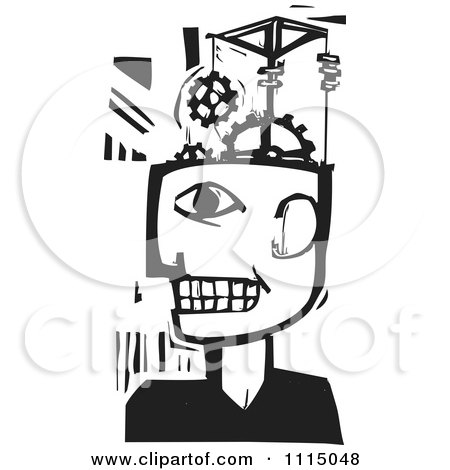 Clipart Man With A Gear Pulley Brain Black And White Woodcut - Royalty Free Vector Illustration by xunantunich