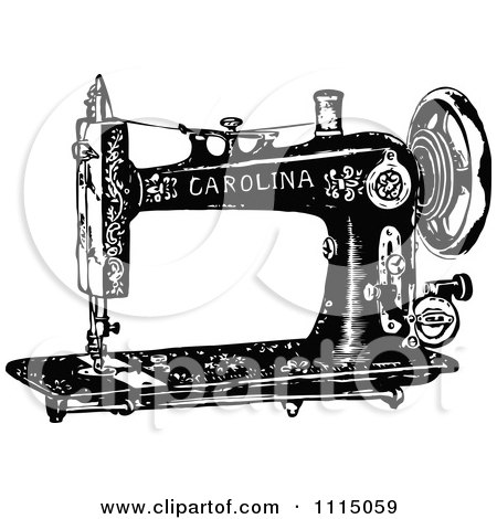 Vintage Black And White Antique Sewing Machine 2 Posters, Art Prints