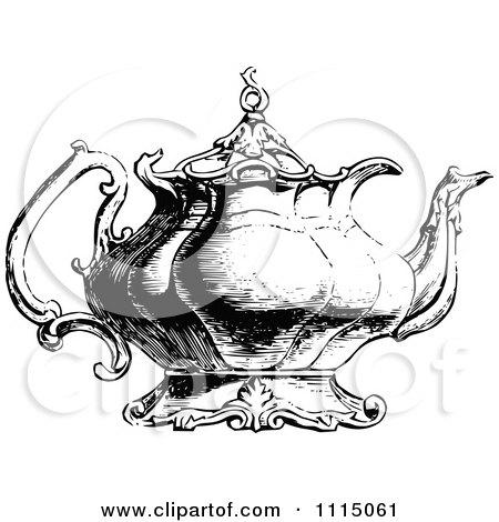 Clipart Vintage Black And White Ornate Tea Pot 2 - Royalty Free Vector Illustration by Prawny Vintage