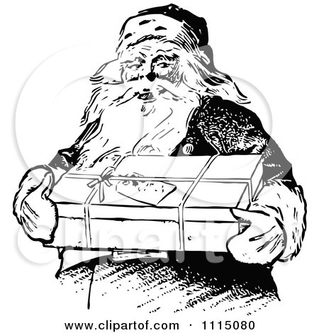 Clipart Vintage Black And White Santa Carrying A Gift - Royalty Free Vector Illustration by Prawny Vintage