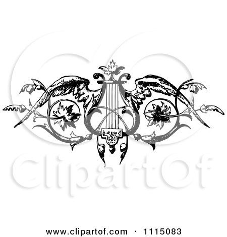 Clipart Vintage Black And White Winged Harp Or Lyre - Royalty Free Vector Illustration by Prawny Vintage