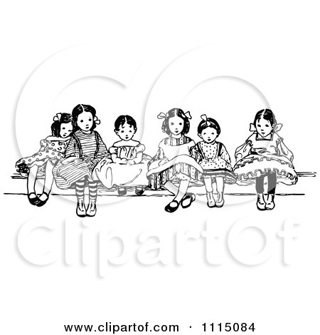 Clipart Vintage Black And White Girls Sitting - Royalty Free Vector Illustration by Prawny Vintage