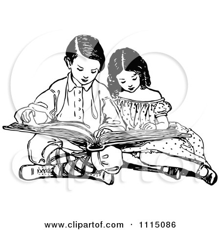 Clipart Vintage Black And White Brother And Sister Reading A Book - Royalty Free Vector Illustration by Prawny Vintage