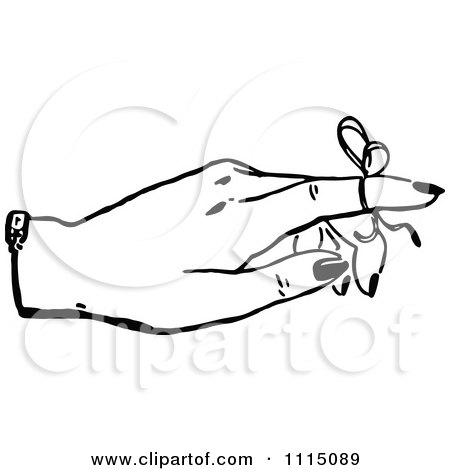 Clipart Vintage Black And White Woman With A Reminder Ribbon On A ...