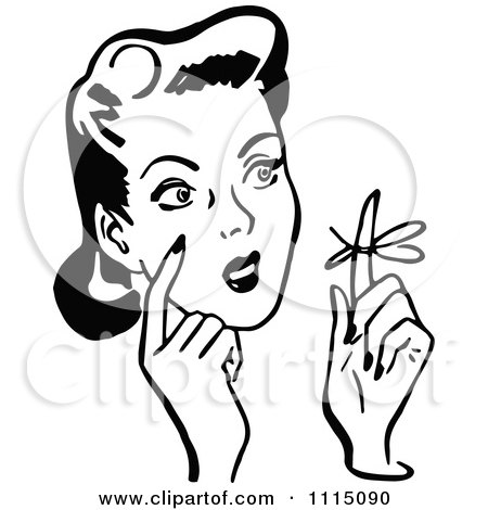 Clipart Vintage Black And White Woman With A Reminder Ribbon On A