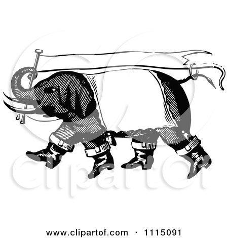 Clipart Vintage Black And White Circus Elephant Carrying A Banner Flag Royalty Free Vector Illustration