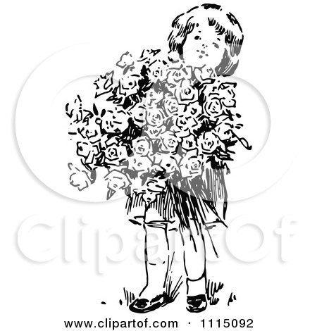 Clipart Vintage Black And White Girl With A Huge Bouquet Of Flowers - Royalty Free Vector Illustration by Prawny Vintage