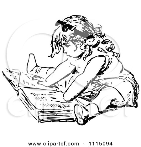 Clipart Vintage Black And White Girl Reading A Book 1 - Royalty Free Vector Illustration by Prawny Vintage