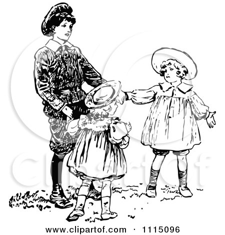 Clipart Vintage Black And White Brother Playing With His Sisters - Royalty Free Vector Illustration by Prawny Vintage