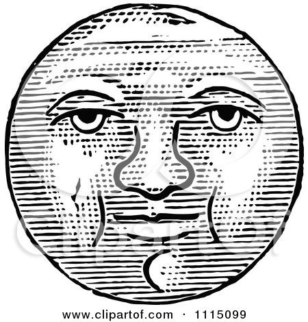 Vintage Black And White Full Moon Face Posters, Art Prints