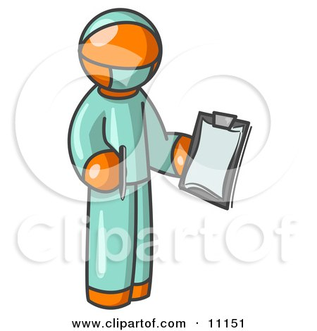 Orange Surgeon Man in Green Scrubs, Holding a Clipboard Clipart Illustration Posters, Art Prints