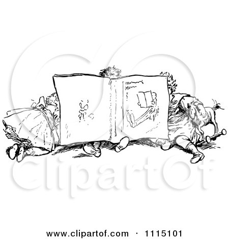 Clipart Vintage Black And White Children Reading A Book Together - Royalty Free Vector Illustration by Prawny Vintage