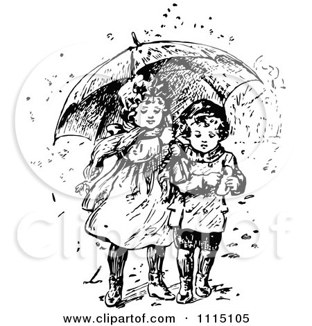 Clipart Vintage Black And White Girl And Boy Sharing An Umbrella - Royalty Free Vector Illustration by Prawny Vintage