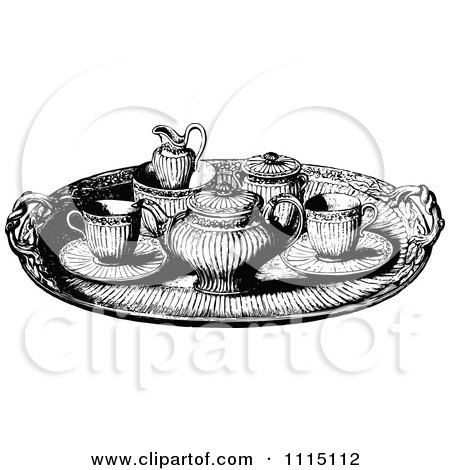Vintage Black And White Tea Service Tray Posters, Art Prints