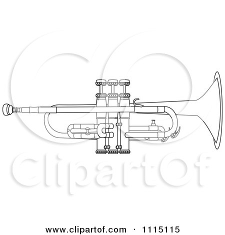 Clipart Outlined Trumpet - Royalty Free Vector Illustration by djart