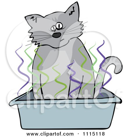 Clipart Cat Using A Stinky Kitty Litter Box - Royalty Free Vector Illustration by djart