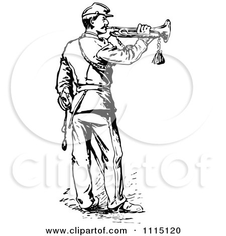 Clipart Vintage Black And White Soldier Playing A Trumpet - Royalty Free Vector Illustration by Prawny Vintage