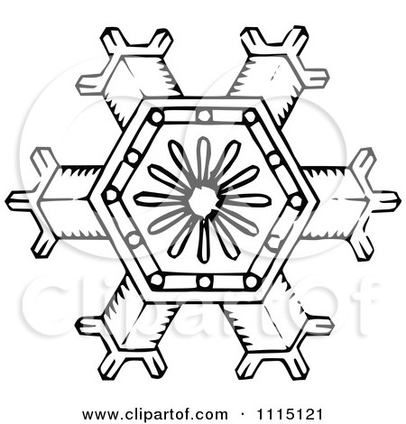 Clipart Vintage Black And White Snowflake 1