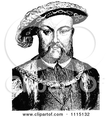Clipart Vintage Black And White Portrait Of Henry VIII - Royalty Free Vector Illustration by Prawny Vintage
