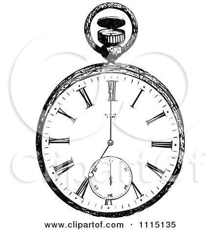 Clipart Vintage Black And White Pocket Watch 1 - Royalty Free Vector Illustration by Prawny Vintage