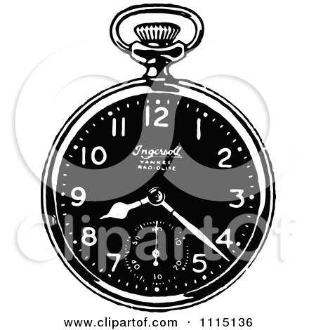 Clipart Vintage Black And White Pocket Watch 2 - Royalty Free Vector Illustration by Prawny Vintage