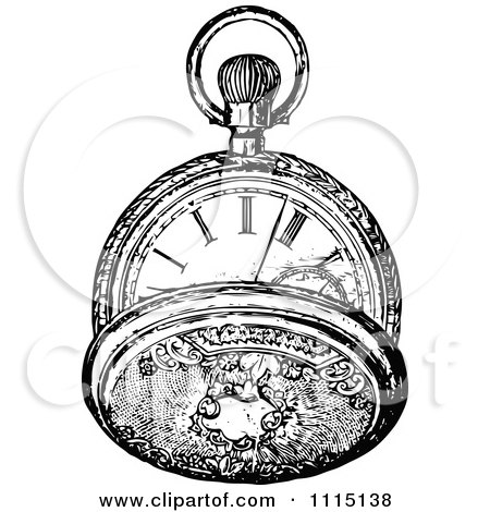 Clipart Vintage Black And White Pocket Watch 4 - Royalty Free Vector Illustration by Prawny Vintage