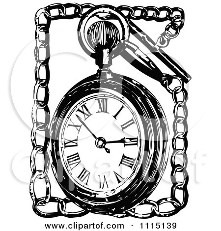 Clipart Vintage Black And White Pocket Watch And Chain - Royalty Free Vector Illustration by Prawny Vintage