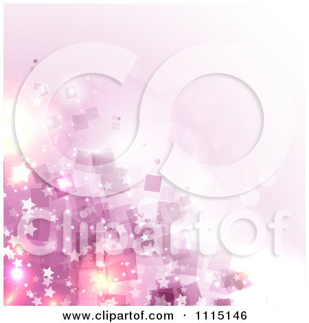 Clipart Background Of Pink Squares Flares And Stars - Royalty Free Vector Illustration by KJ Pargeter