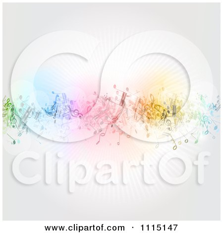 Clipart Background Of Colorful Music Notes And Rays - Royalty Free Vector Illustration by KJ Pargeter