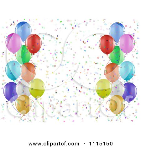 Clipart Party Background Of Colorful Party Balloons And Confetti On White - Royalty Free Vector Illustration by KJ Pargeter
