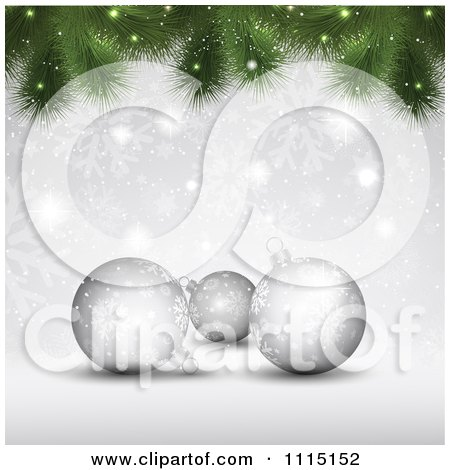 Clipart  Christmas Background Of 3d Silver Baubles With Snowflakes And Tree Branches - Royalty Free Vector Illustration by KJ Pargeter