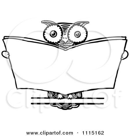 Clipart Vintage Black And White Wise Owl Reading - Royalty ...