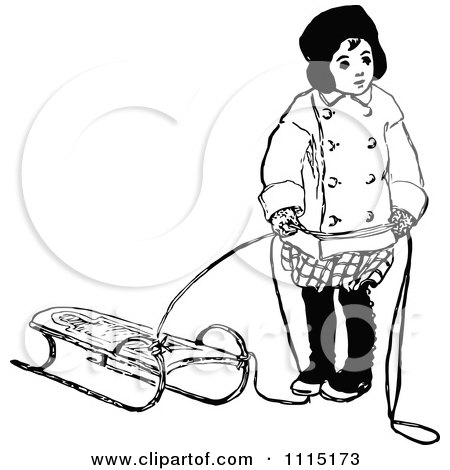 sled clipart black and white  Vintage Black And White