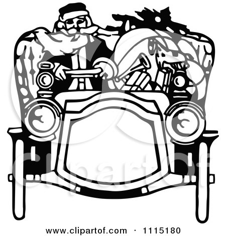 Clipart Vintage Black And White Santa Driving A Car - Royalty Free Vector Illustration by Prawny Vintage