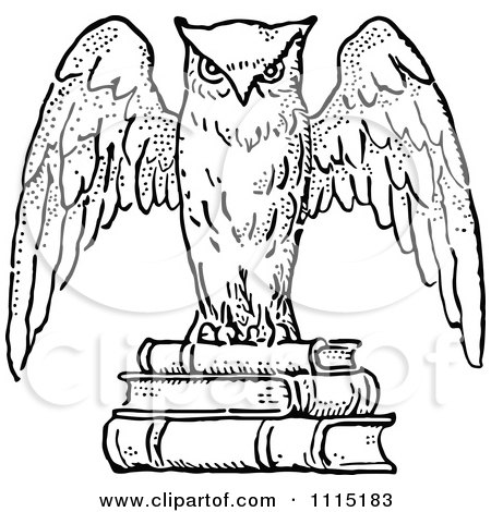 Clipart Vintage Black And White Wise Owl On Books Royalty Free Vector Illustration