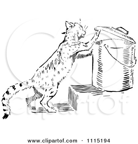 Clipart Vintage Black And White Cat Getting Into Garbage - Royalty Free Vector Illustration by Prawny Vintage