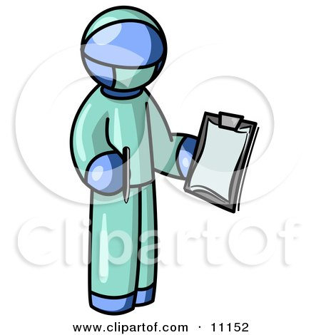 Blue Surgeon Man in Green Scrubs, Holding a Pen and Clipboard Clipart Illustration by Leo Blanchette