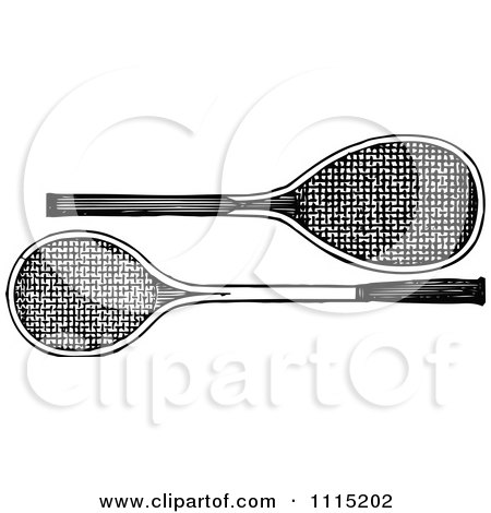 Clipart Vintage Black And White Tennis Rackets - Royalty Free Vector Illustration by Prawny Vintage