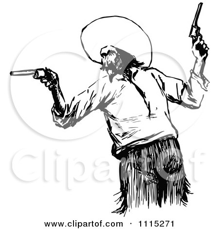 Vintage Black And White Mexican Bandit Posters, Art Prints