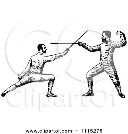 Clipart Vintage Black And White Men Fencing - Royalty Free Vector Illustration by Prawny Vintage
