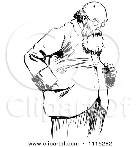 Clipart Vintage Black And White Bearded Man Looking Down - Royalty Free Vector Illustration by Prawny Vintage