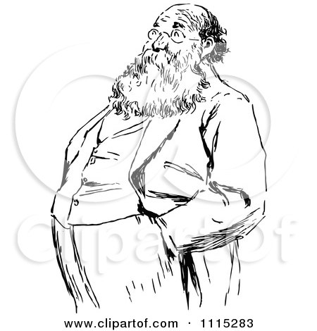 Clipart Vintage Black And White Bearded Man With His Hands In His Pockets - Royalty Free Vector Illustration by Prawny Vintage