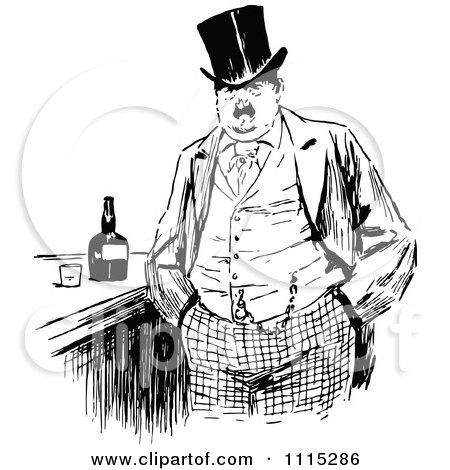 Clipart Vintage Black And White Man At A Bar - Royalty Free Vector Illustration by Prawny Vintage